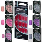 ROYAL NAIL TIPS 24 FALSE FAKE NAILS CHOICE OF 7 COLOUR RED PINK PURPLE GLEY TIP